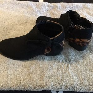 Black Bootie with leopard backs and bows